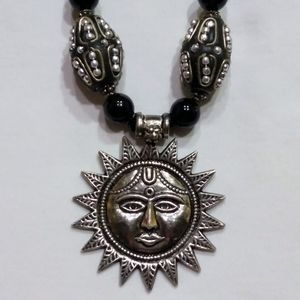 925 Sterling Silver Sun God With Black Glass Beads